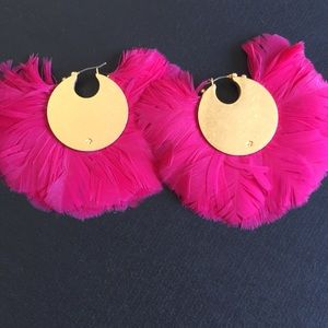 Kate Spade Hot pink feather earrings